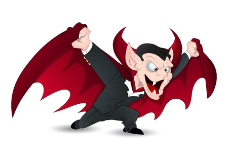 Isolated on White Funny Vampire Vector for Halloween Vector