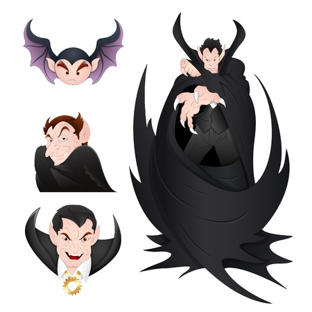 Dracula and Vampires Illustration Vectors Vector