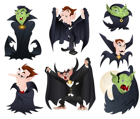 Vector Illustrations of Dracula and Vampires Monsters including Classic and Funny Modern Vector