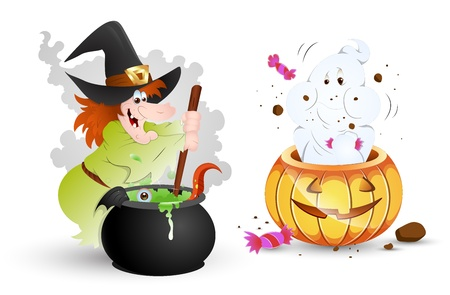 cauldron: Funny Halloween Characters - Witch and Ghost Illustration