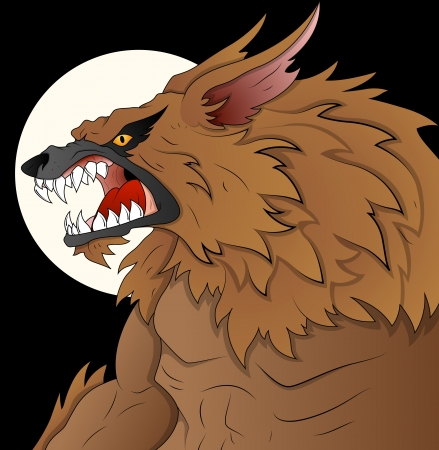 Classic Werewolf Vector Illustration on Full Moon Night Vector