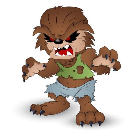 cartoon monster: Funny Werewolf Vector Illustration