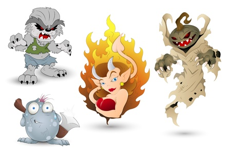 жуткий: Хэллоуин Monters и Devil Woman Иллюстрация