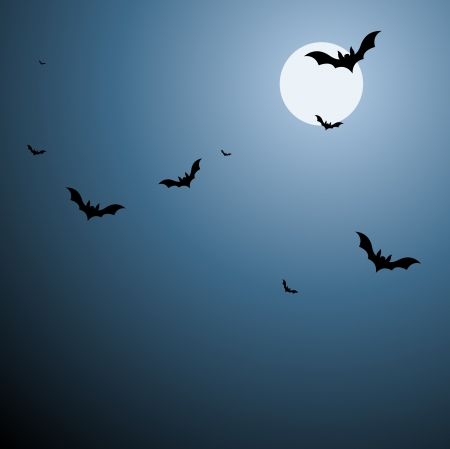 early in the evening: Bats in Sky Background in Vector