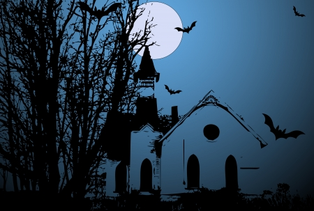 Creepy Old Church Vector Vector