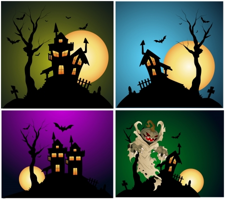 Halloween Backgrounds Vector Set Vector