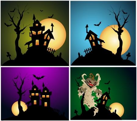 ghost house: Halloween Backgrounds Vector Set