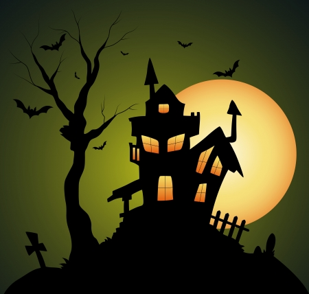 Creepy Old Halloween Horrable House Vector