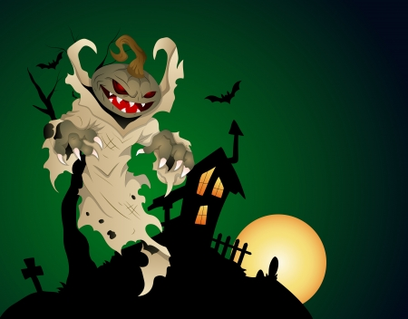 haunted house: Halloween Haunted House Background With Pumpkin Head Ghost