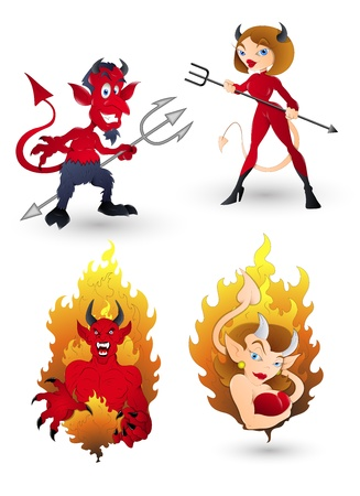 sexy devil: Devil Characters for Halloween Illustration