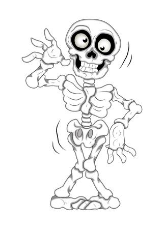 cartoon frankenstein: Funny Skeleton Vector Illustration