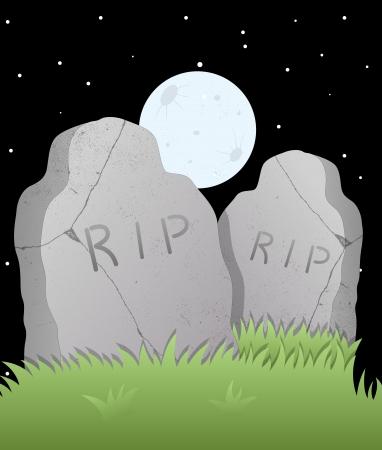 grave stone: Grave Stone Vector Illustration