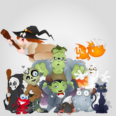 Halloween Monsters Family - Devil, Cat, Witch and More Vector