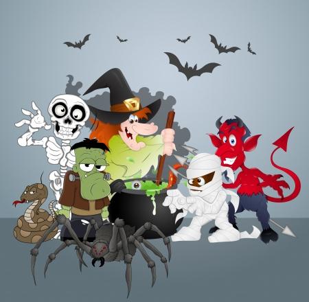 cartoon frankenstein: Halloween Monsters Party Celebration