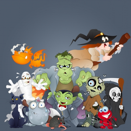 Collection of Monsters, Ghosts, Witches and More Vector