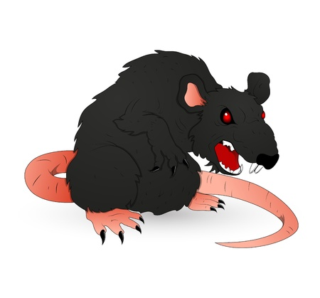 rata caricatura: Rata de Halloween espeluznante ilustraci�n vectorial