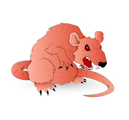 monster face: Horrible Vector Rat Illustration