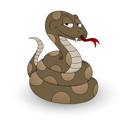 cartoon demon: Cartoon Snake Vector Illustration