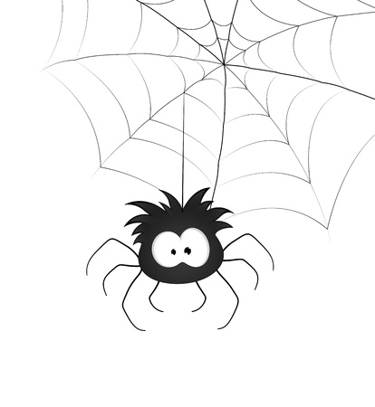 Funny Spider and Web Vector