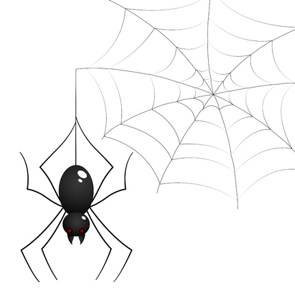 Spider and Web Illustration Illustration