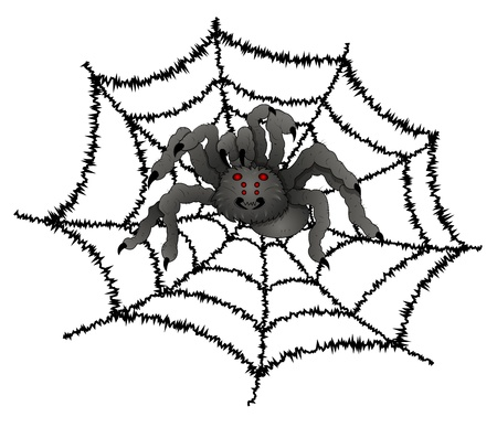 Scary Spider on Web Stock Vector - 15759428