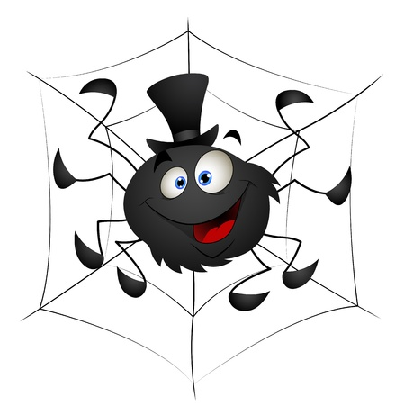 cartoon spider: Funny Spider Cartoon Vector Illustration