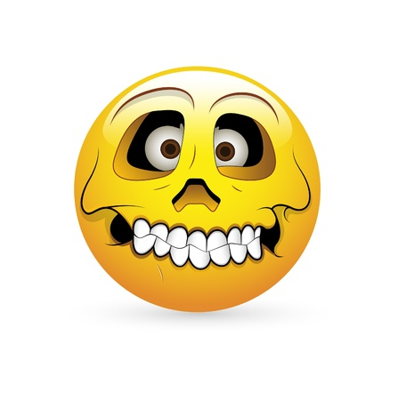 calavera caricatura: Smiley Emoticones Vector Face - Expresi�n Skull Vectores