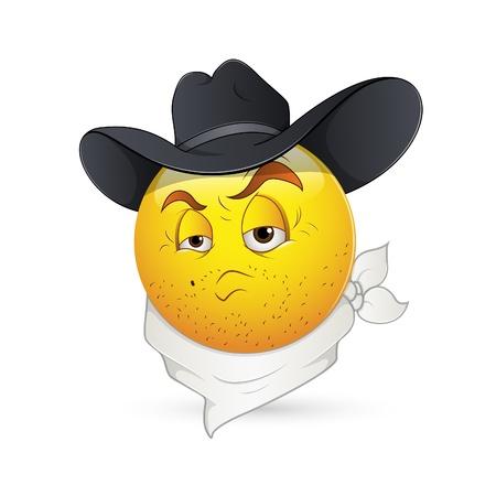 aggressive: Smiley Emoticons Face Vector - Cowboy