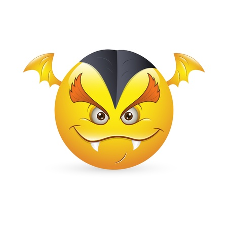 cartoon vampire: Smiley Emoticons Face Vector - Vampire Expression