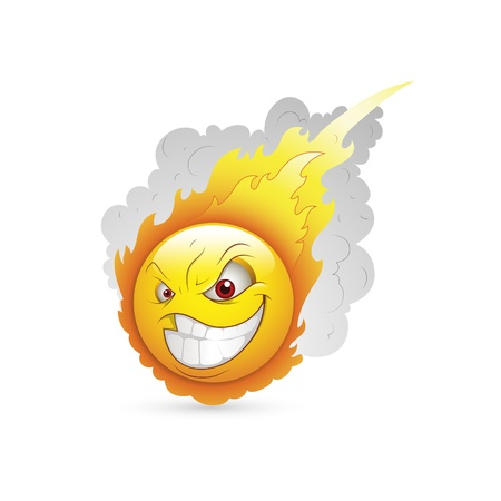 Smiley Face Emoticones Burning Expresión Ilustración de vector