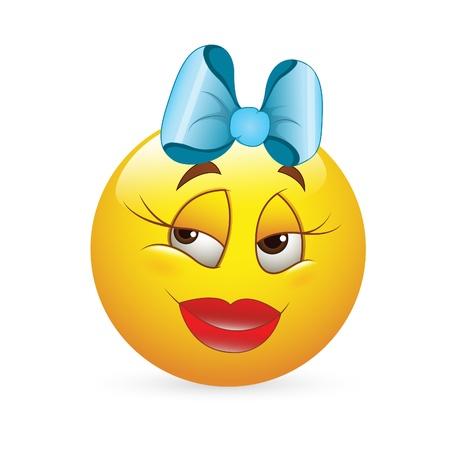 emoticone: Smiley Emoticons Vector Face - Espressione Ragazza Romantica Vettoriali