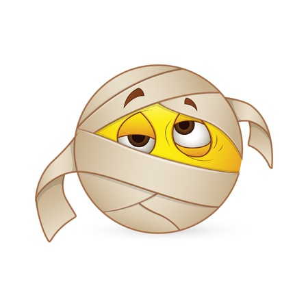 egyptian mummy: Smiley Emoticons Face Sick Expression Illustration