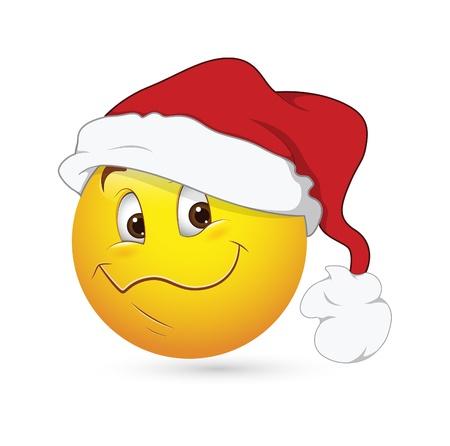 emoticone: Smiley Emoticons Faccia Vettore - Espressione di Natale Vettoriali