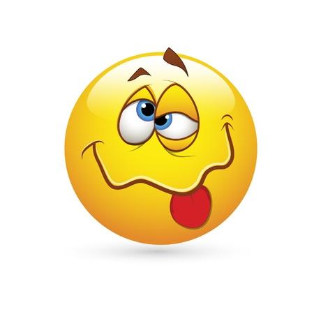 sentimientos y emociones: Smiley Emoticones Vector Face - Expresi�n Drunked