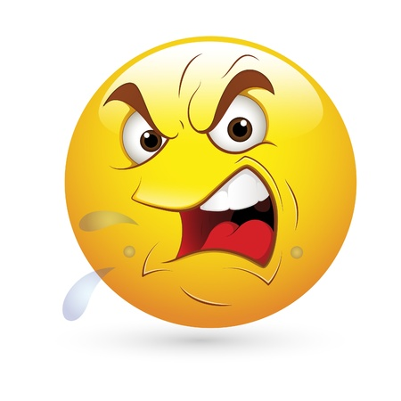 w�tend: Smiley Emoticons Gesicht Vektor - Angry Expression