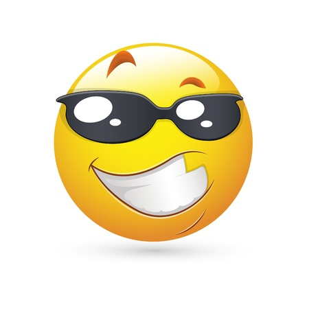 Laughing Face: Smiley Emoticons Gesicht Vektor - Handsome Expression Illustration