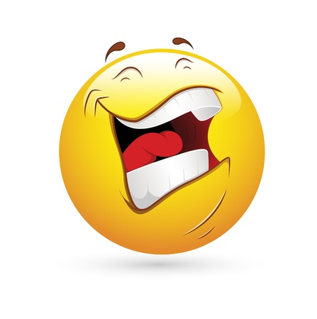 Smiley Emoticons Face Vector - Laughing Illustration