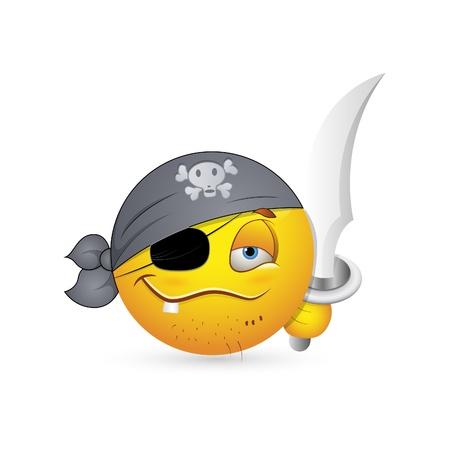 facial gestures: Smiley Emoticons Face Vector - Pirate look