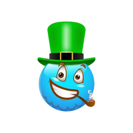 pijp roken: Smiley Emoticons Gezicht St Patrick's Day Stock Illustratie
