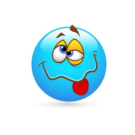 Smiley Emoticones Idiot Face Ilustración de vector