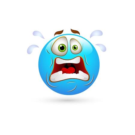 sentimientos y emociones: Smiley Face Shocked Emoticones Vectores