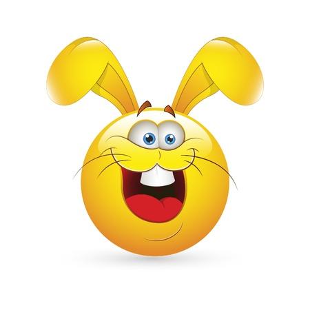 Smiley Emoticons Face Easter Bunny Vector