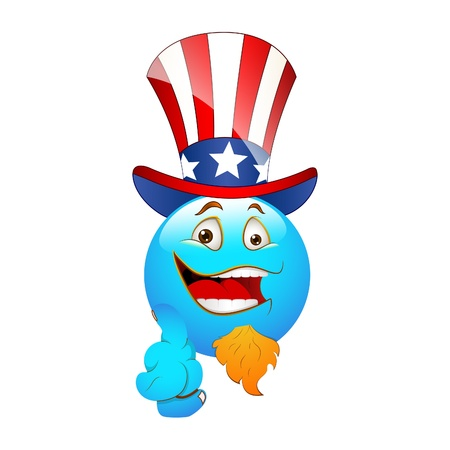 Smiley Emoticons Face 4th July Vector