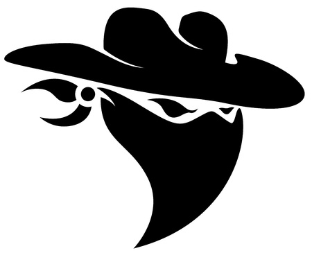 cowboy silhouette: Thief Cowboy Mascot Tattoo Illustration