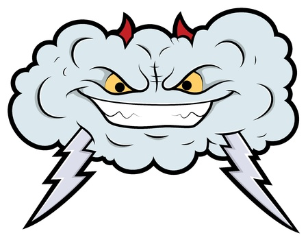 Evil Cloud Comic Vector Illustration Stock Vector - 15808802