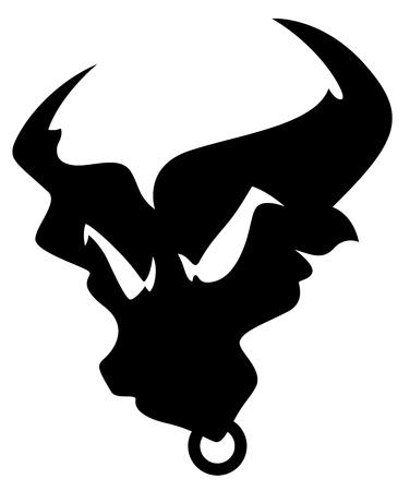tatto: Angry Bull Silhouette Mascot Tatto Vector Illustration