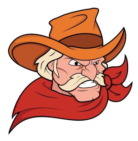 braqueur: Vecteur de mascotte de cowboy
