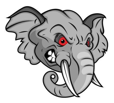 cabeza: Vector Angry elefante mascota de Ilustración Vectores
