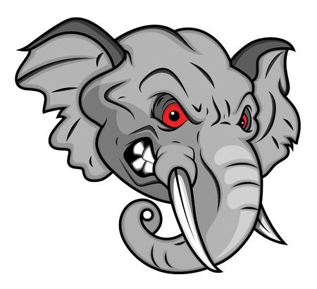 Wütend Elephant Vector Mascot Illustration