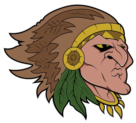 Red Indian Mascot Tattoo Vector